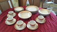 White-and-red ceramic dinnerware set Spruce Grove, T7X 1W1