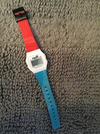 white and red digital watch 393 mi