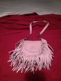 women's pink leather fringe sling bag 154 mi