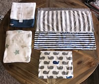 Crib Bedding & Blankets/Swaddles Lot (Land of Nod, Aden+Anais, Tula)
