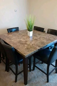 Marble top 6 chair dining set
