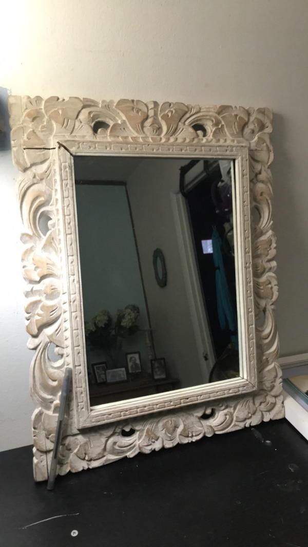 """White wooden framed wall mirror 19""""x 15"""""""