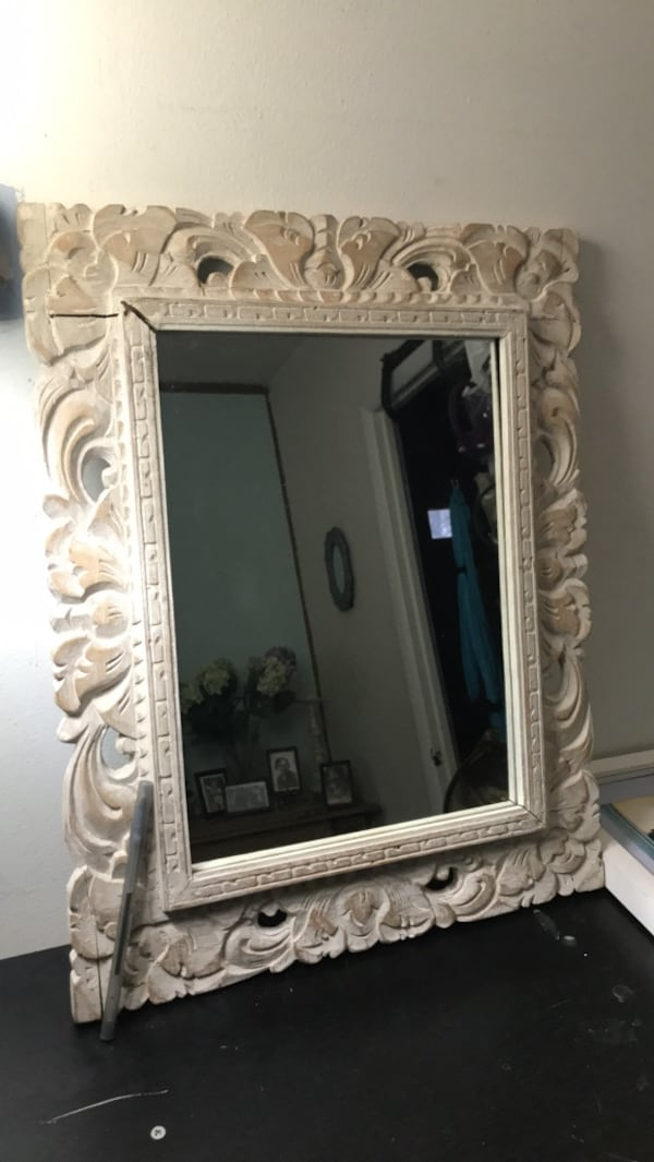 "White wooden framed wall mirror 19""x 15"" 0"