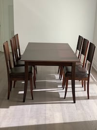 Dining set: 6 chairs, table and credenza; dark walnut Toronto, M8X 2T1