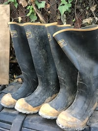 two pair of black-and-yellow knee-high rain boots Los Gatos, 95032
