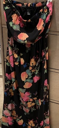 Strapless long dress black with flowers size small Riverside, 92503