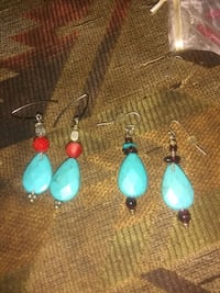 pair of blue-and-silver hook earrings Houston, 77069