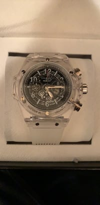round silver chronograph watch with silver link bracelet Roswell, 30076