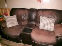 brown leather 3-seat recliner sofa Calgary