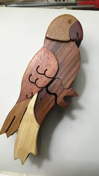 Wooden Parrot Puzzle Jewelry Box Imported from Costa Rica 21 km