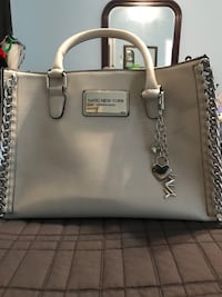white leather Michael Kors tote bag Sterling, 20166