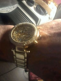 round gold-colored analog watch with link bracelet San Antonio, 78211