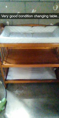 brown wooden changing table