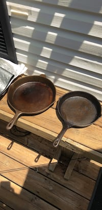 "3 Cast Iron Skillets - (see all pics) Three Vintage Large Cast Iron Skillets / Frypans  - 12"" With Helper Handle , also a 10 1/2"" Plus 8 1/2"" - Cooking Pots Farmington Hills, 48336"