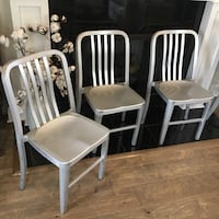 Set of 3 silver metal chairs Baton Rouge, 70810