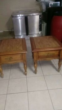 two brown wooden end tables Harvey, 70058