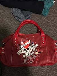 Red and black leather tote bag Ed Hardy in mint condition  3491 km