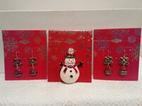 New Snowman Pin or Christmas Earrings West Springfield