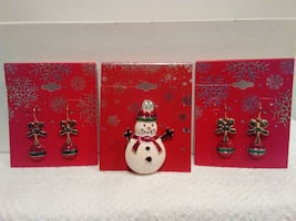 New Snowman Pin or Christmas Earrings