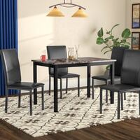 black and brown marble-top table with black wooden base and chairs set New York, 11230