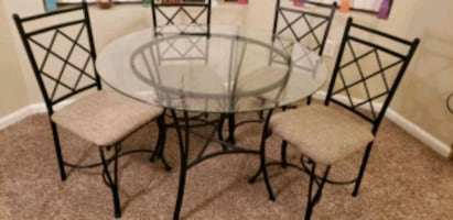 5-Piece Glass and Metal Dining Set