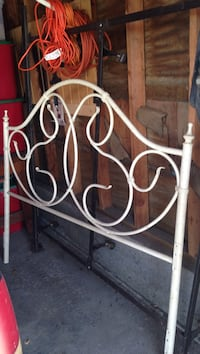 Cream colored metal bed headboard and Queen Bed Frame.  2393 mi