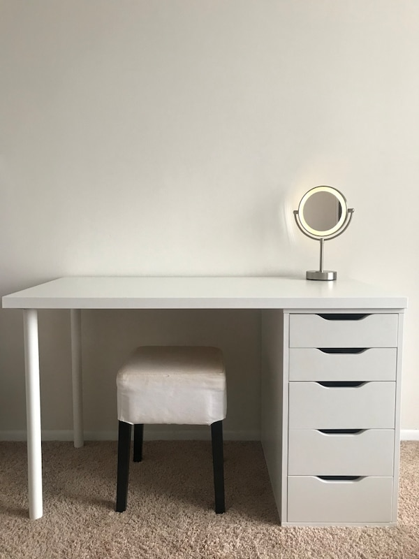 Ikea computer or vanity desk with Alex drawers