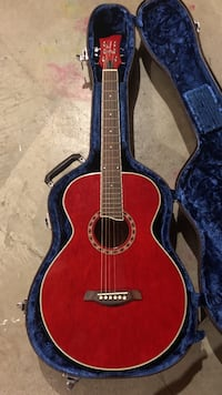 dreadnought red acoustic guitar with blue hard case Abbotsford, V2S 4A1