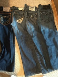 two blue and black denim jeans Edmonton, T5X