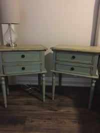 Green wooden 2-drawer nightstand Fonthill, L0S