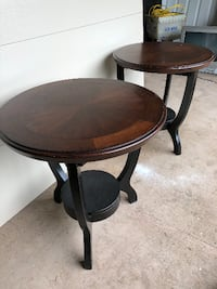 round brown wooden side table Livingston Manor