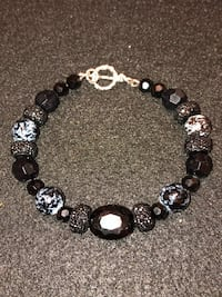 NEW Handmade- Silver Black Crystal Mixed Beaded Bracelet with Toggle Clasp.  Gold tone and other crystal and stone colors also available. Salem, 01970