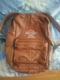 brown leather Hard Rock backpack