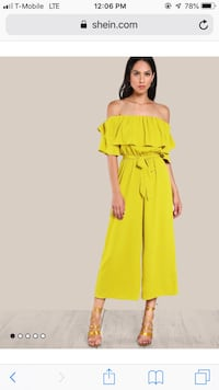 Flounce Off Shoulder Self Tie Culotte Jumpsuit, brand new . Falls Church