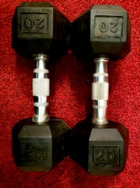 two black and gray dumbbells Toronto, M6K 2X7