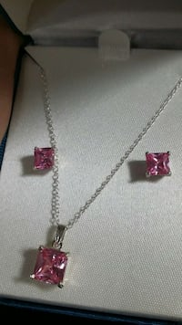 Genuine sterling silver necklace ear Princess cut
