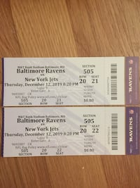 Two tickets for Ravens vs. Jets on 12/12 for 40% off! Rockville, 20852