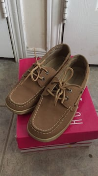 pair of brown Boat shoes on box Toronto, M4B 2T8