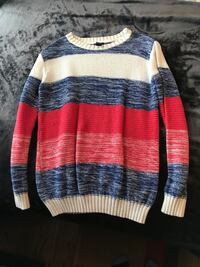white, blue, and red striped crew-neck sweater Wallingford, 06492