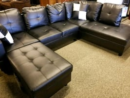 Contemporary sectional with a matching storage ott