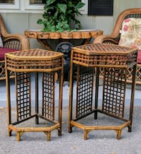 Pair of rustic weave bamboo plant stands Ocala, 34482
