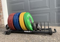 Rogue Fitness Olympic Bumper Plates Competition Training 140KG Total w/ Rack & Change Plates