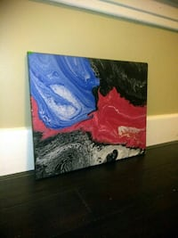 blue and red abstract 16x20 canvas painting
