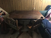 Antique rectangular brown wooden table with 6 chairs dining set