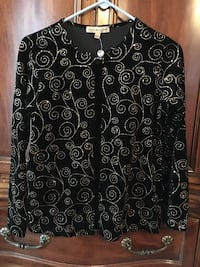 Brand new teenager/woman black velvet jacket with black tank top with gold glitter design size Small  Fresno, 93727
