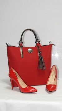 red and black leather tote bag Calgary, T3R 0X4