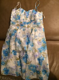 White, blue, and green floral spaghetti-strap mini dress Brock