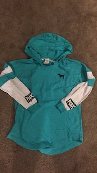 blue and white Victoria's Secret pullover hoodie