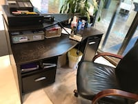 Dark brown desk and chair  Brampton
