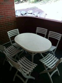 oval white table and six chairs patio set Waltham, 02452